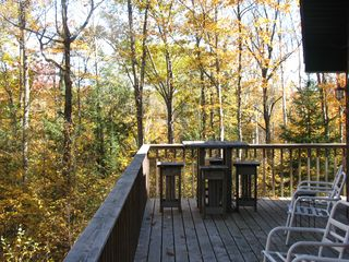 Hayward house photo - Upper Deck -- woods off to side of property. Late Fall.