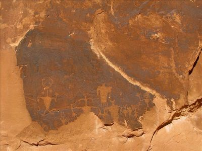 """Moab Man"" petroglyph and other shamanic figures"