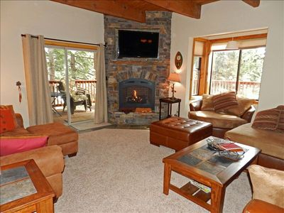 New stone gas-log Fireplace with Big Screen HD TV and loads of seating
