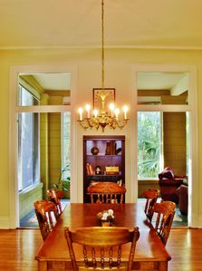 New Orleans condo rental - Perfect for a sun lit breakfast for the group, or a chandelier lit dinner.