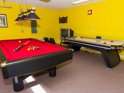 Games room fun for when it's too hot to be out by the pool.