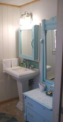 Downstairs bathroom with vanity - Old Orchard Beach house vacation rental photo