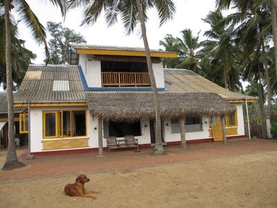 West Coast Sri Lanka house rental - Front of house and Oliver (the dog)