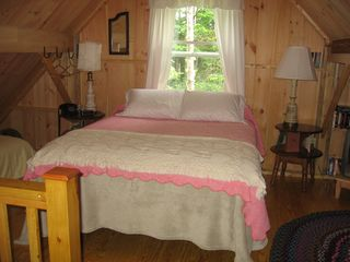 Acadia National Park cottage photo - Loft bedroom, queen size bed and twin