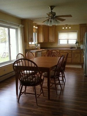 kitchen and dining area, cherry dining set