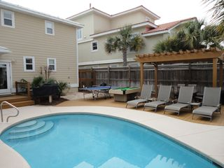 Crystal Beach house photo - Seawatch Pool and Back yard area featuring Outdoor Ping Pong & Pool Table