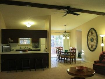 Hot Springs Village house rental - View from Living room to Kitchen/Dining room