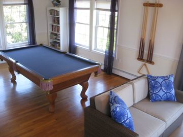 Play pool or watch a movie in the living room.