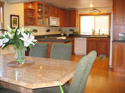 fully equipped kitchen and adjacent dining room