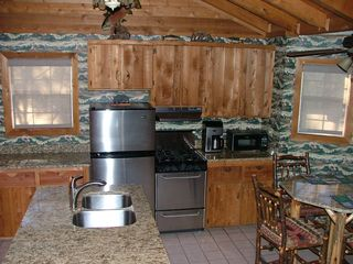 Blue Ridge cabin photo - Kitchen Area: Center Island SInk, Fridge, Stove/Oven, Coffee Maker, Microwave