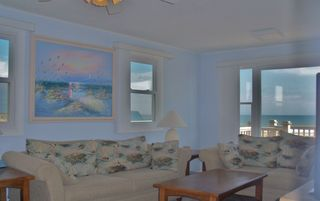 Kure Beach house photo - Spacious Oceanfront Living Room/Den with Large Flat Panel TV
