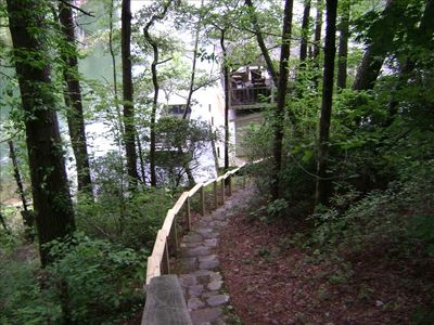 Steps leading to the boathouse