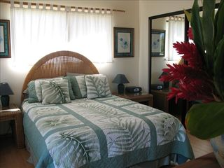 Kula house photo - Master bedroom with queen bed, cable tv and master