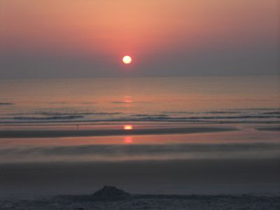 A spectacular sunrise only 2 min. walk from the house on our no drive beach!