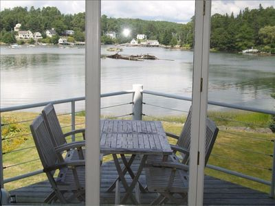 Boothbay Harbor condo rental - A private deck overlooking the inner harbor.