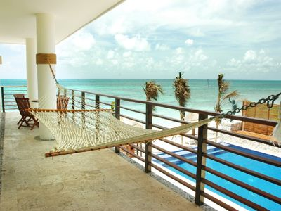 Puerto Morelos condo rental - Hammock on terrace overlooking Pool and Sea.