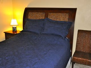 Grand Bahama Island villa photo - Blue Bedroom Queen Size Bed