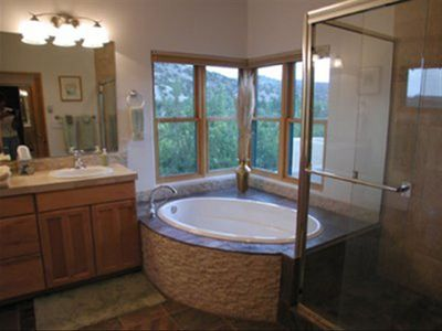 The Master Bathroom provides great canyon views from the deep tub.