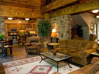 Seven Springs house photo - Spacious vaulted Great Room with loft above and open to gourmet kitchen