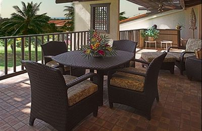 Keauhou condo rental - Lani with comfortable Brown Jordan furniture overlooking the Golf Course/Ocean