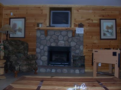 Lower level den with gas fireplace