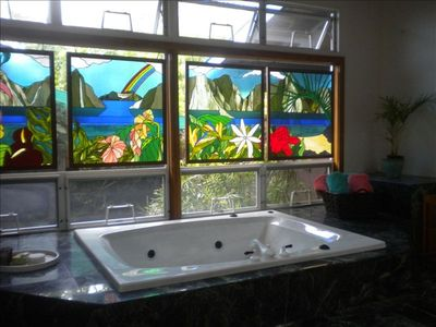 Jetted Tub In Master w/ Koi Pond & Waterfall Right Outside Windows