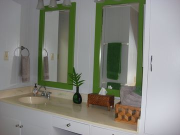 Large vanity area and storage provides space for everyone.
