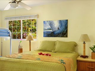 Poipu house photo - Surf room with Queen size bed and a full twin bunk bed. Shares a bathroom.
