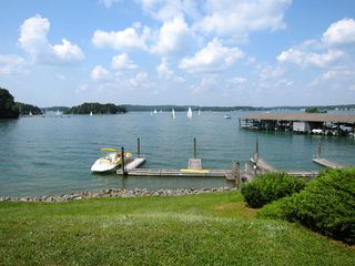 Moneta condo photo - View from the deck with sail boat race in distance