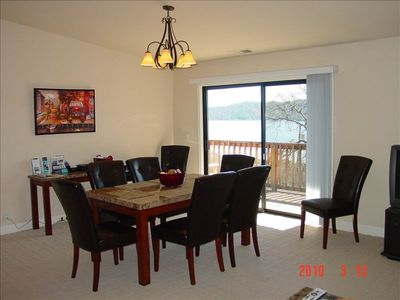Clearlake Oaks house rental - Dining room with view of Clear Lake