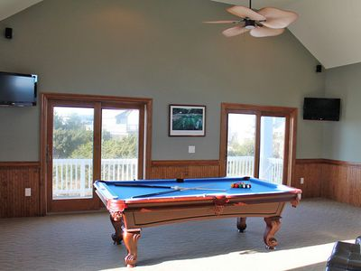 Awesome sports bar with 3 LCD TV/DVD's. Stereo, pool table and poker table FUN!!