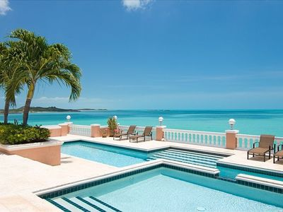 Villa Palermo pool and Caribbean Sea in peaceful Turtle Tail