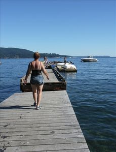 Summer time dock for sunning, swimming, fishing, & loading & unloading boats.