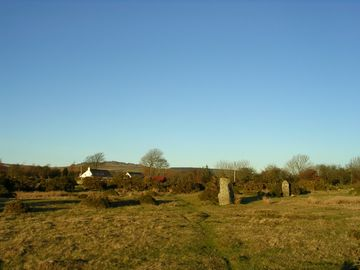 View ofTrallwyn Cottage from the standing stones