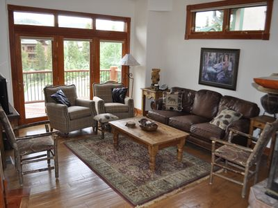 "Living room w/ fireplace, deck & mountain views, 46"" flat screen TV w/cable, DVD"
