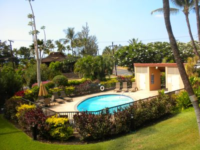View from your private lanai of one of the pools & the warm, sandy beach beyond