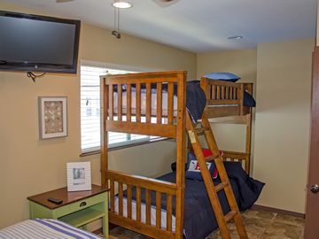 2nd floor bedroom with King size bed and bunk beds