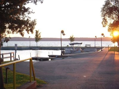 Summer sunset view, downtown Alden, looking across the Marina. Beach next door.