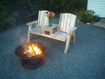 Front Yard with Firepit - Blue Rose Cottage Bar Harbor Vacation Rental