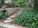 Stepping stones leading from brick courtyard to goldfish pond.