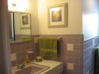 Hillman cottage photo - Full bathroom with tub and shower.