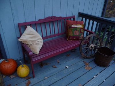 Relax on the front porch bench!