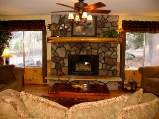 Prescott lodge photo - Great room with cozy fireplace