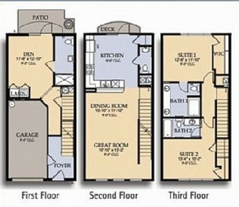 Three Story Townhouse Floor Plans
