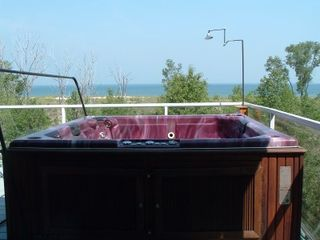 Michigan City house photo - The view of the beach from the hot tub