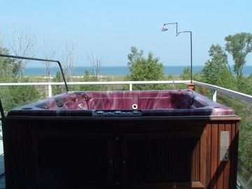 The view of the beach from the hot tub