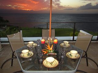 Princeville condo photo - A final night with dinner at sunset on the lanai