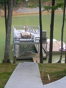 Concrete path and steps leading to dock