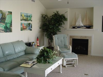 Great room! Giant den with sectional sofa,  fireplace & large screen TV/DVD