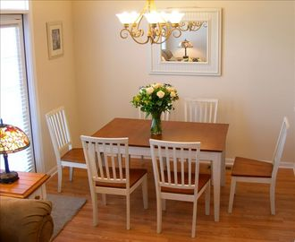 Dining Rm w Seating for 6 + 4 more at Kitchen counter with swivel stools